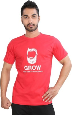 Just Differ Graphic Print Men's Round Neck Red T-Shirt