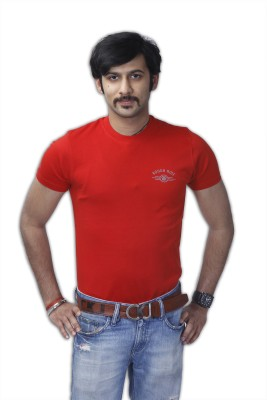Rough Ride Solid Men's Round Neck Red T-Shirt
