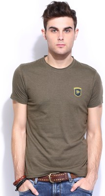 Roadster Solid Men's Round Neck Green T-Shirt
