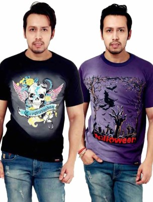 Crypticvoodoo Graphic Print Men's Round Neck Purple, Black T-Shirt