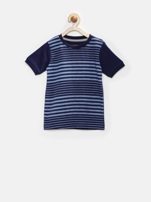 YK Striped Boy's Round Neck Blue T-Shirt