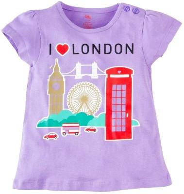Oye Printed Baby Girl's Round Neck Purple T-Shirt