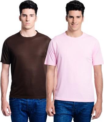 Superjoy Solid Men's Round Neck Brown, Pink T-Shirt