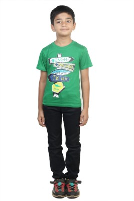Stop by Shoppers Stop Printed Boy,s Round Neck Green T-Shirt