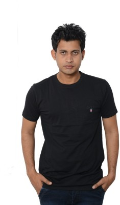 Lampara Solid Men's Round Neck Black T-Shirt