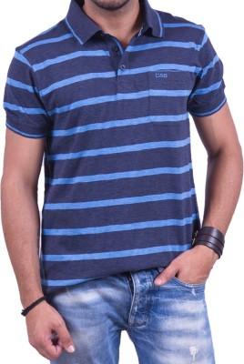 Cotton & Blends Striped Men's Polo Neck Multicolor T-Shirt