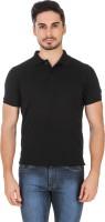 Lotto T Shirts (Men's) - Lotto Solid Men's Polo Neck Black T-Shirt
