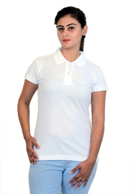 WASP Embroidered Women's Polo Neck White T-Shirt