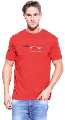 ORKO Solid Men's Round Neck Red T-Shirt