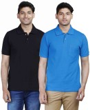 Fleximaa Solid Men's Polo Neck Black, Bl...