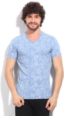 Killer Printed Men's V-neck Blue T-Shirt