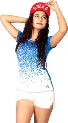 IRTALUCY Printed Women's Round Neck Multicolor T-Shirt