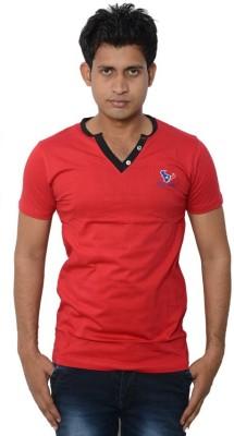 Lampara Solid Men's V-neck Red T-Shirt