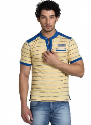 Klub Fox Striped Men's Henley Yellow T-Shirt