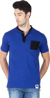 Roar and Growl Solid Men's Henley Blue, Black T-Shirt