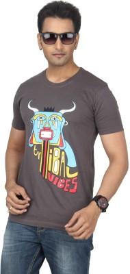 Bandarwalla Graphic Print Men,s Round Neck Grey T-Shirt
