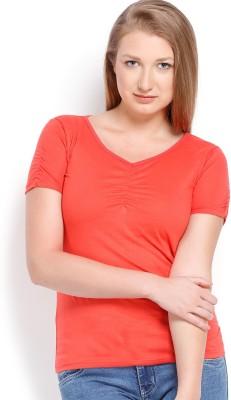 ESPRESSO Solid Women's V-neck Red T-Shirt