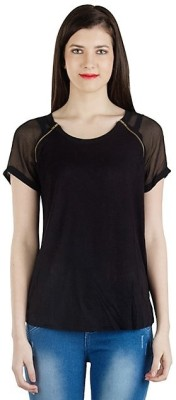 Fashionholic Solid Women's Round Neck Black T-Shirt