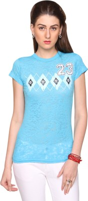 Bedazzle Geometric Print Women's Round Neck Blue T-Shirt at flipkart