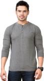 Top Notch Solid Men's Henley Grey T-Shir...