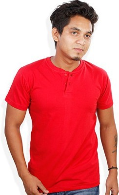 Evermore Stores Solid Men's Henley Red T-Shirt