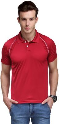 Scott International Self Design Men's Polo Neck Maroon T-Shirt
