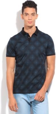 Arrow Newyork Printed Men's Polo Black, Blue T-Shirt