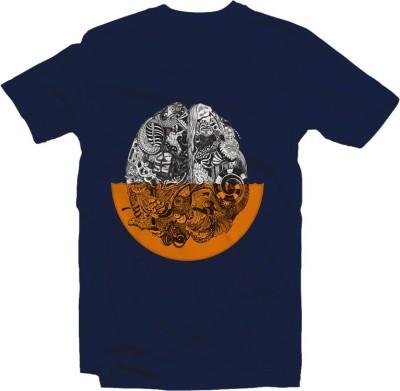 twine tree Graphic Print, Printed Men's Round Neck, V-neck Dark Blue T-Shirt