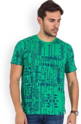 Blue Monkey Geometric Print Men's Round Neck Green T-Shirt
