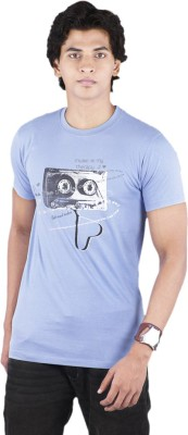 Bib & Tucker Printed Men's Round Neck Blue T-Shirt