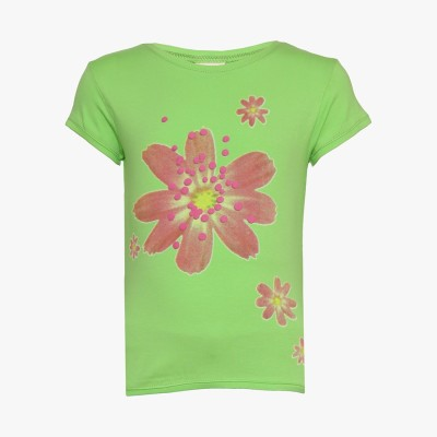 Tales & Stories Floral Print Girl's Round Neck Light Green T-Shirt