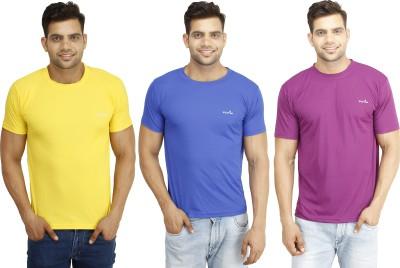 Eprilla Solid Men,s Round Neck Purple, Blue, Yellow T-Shirt