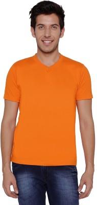 Threadz Solid Men's V-neck Orange T-Shirt