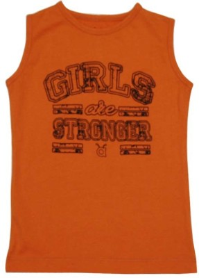 Anthill Solid Girl's Round Neck Orange T-Shirt