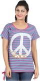 Hoodz Striped, Printed Women's Round Nec...