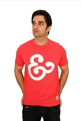 Aeltic Printed Men's Round Neck Red T-Shirt