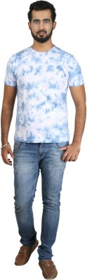 Pick Indiana Military Camouflage Men's Round Neck Blue T-Shirt