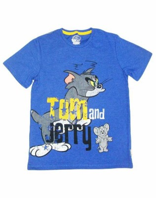 Tom & Jerry Printed Boy's Round Neck Blue T-Shirt
