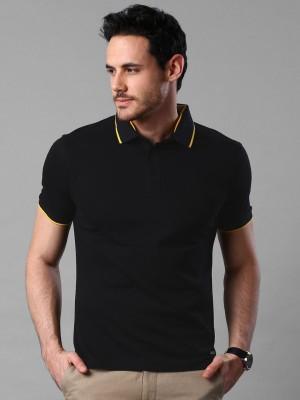 Invictus Solid Men's Polo Neck Black T-Shirt