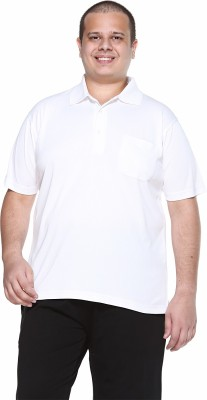 PlusS Solid Men's Polo Neck White T-Shirt