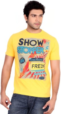 Globalepartner Printed Men's Round Neck Yellow T-Shirt