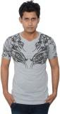 Lampara Printed Men's V-neck Grey T-Shir...