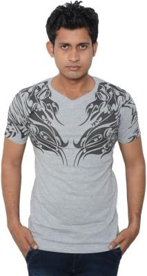 Lampara Printed Men's V-neck Grey T-Shirt