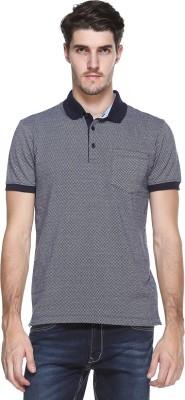 OCTAVE Checkered Men's Polo Neck Blue T-Shirt