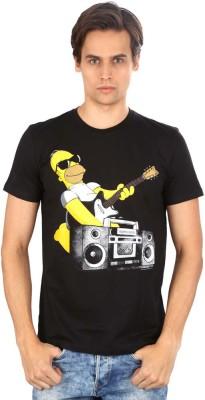 Planet Superheroes Graphic Print Men's Round Neck Black T-Shirt