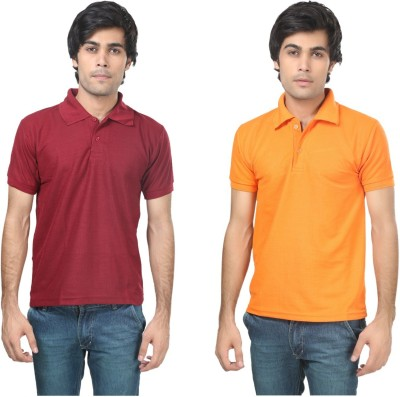 Stylish Trotters Solid Men's Polo Maroon, Orange T-Shirt