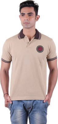 Austin Wood Solid Men's Polo Neck Brown T-Shirt