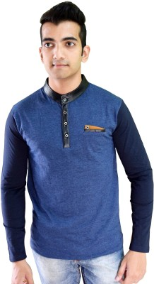 Beardo Solid Men's Round Neck Dark Blue T-Shirt