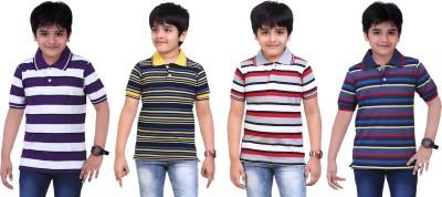 Dongli Striped Baby Boy's Polo Neck Purple, Blue, Black, Silver T-Shirt