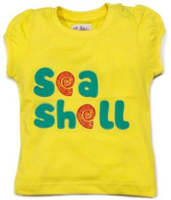 Solittle Applique, Printed Baby Girl's Round Neck Yellow T-Shirt